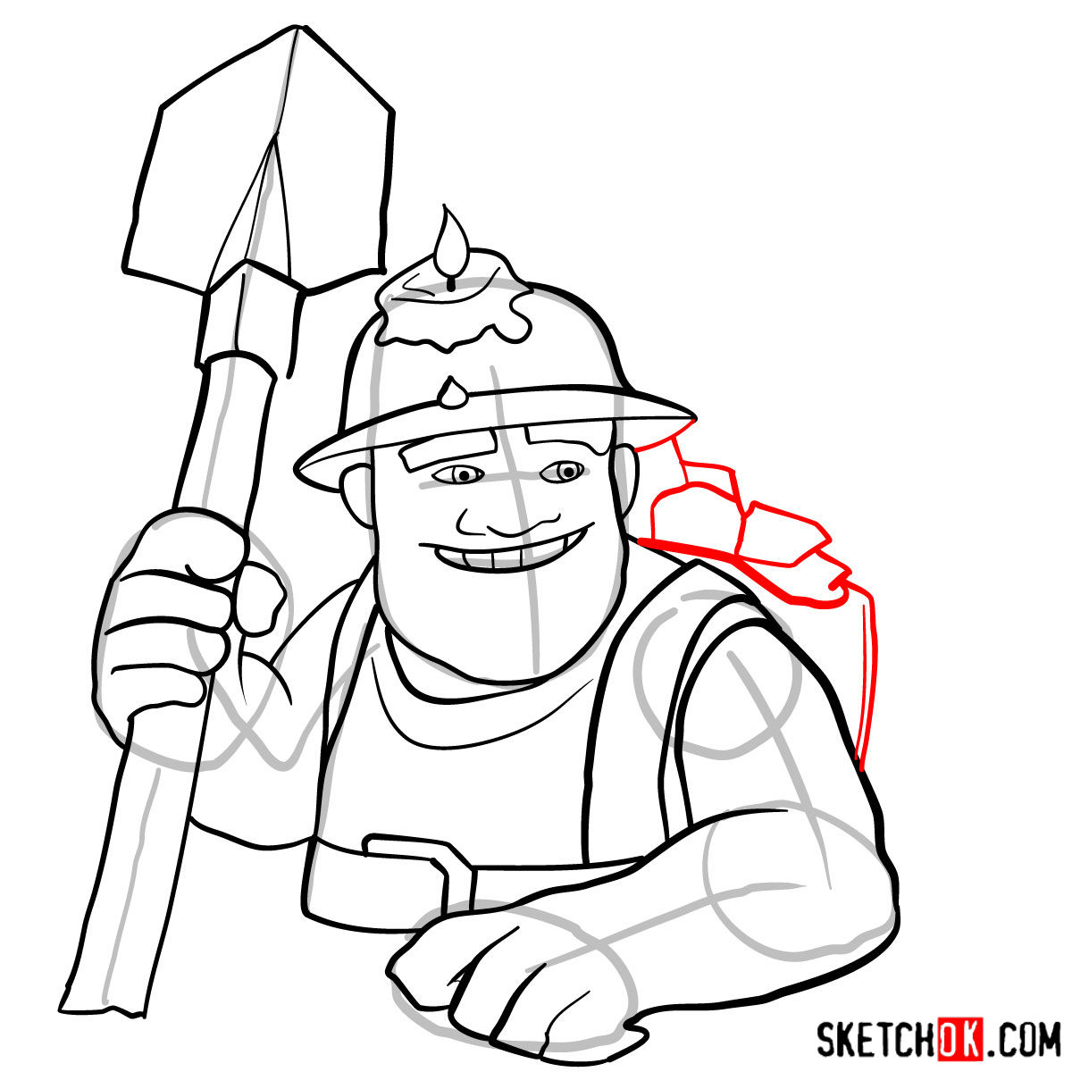 How to draw Miner from Clash of Clans game - step 12