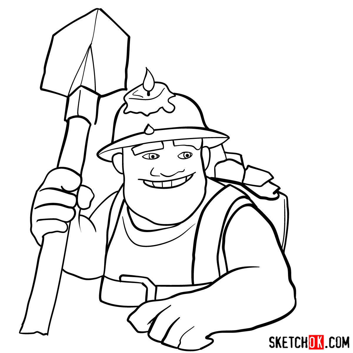 How to draw Miner from Clash of Clans game - step 13