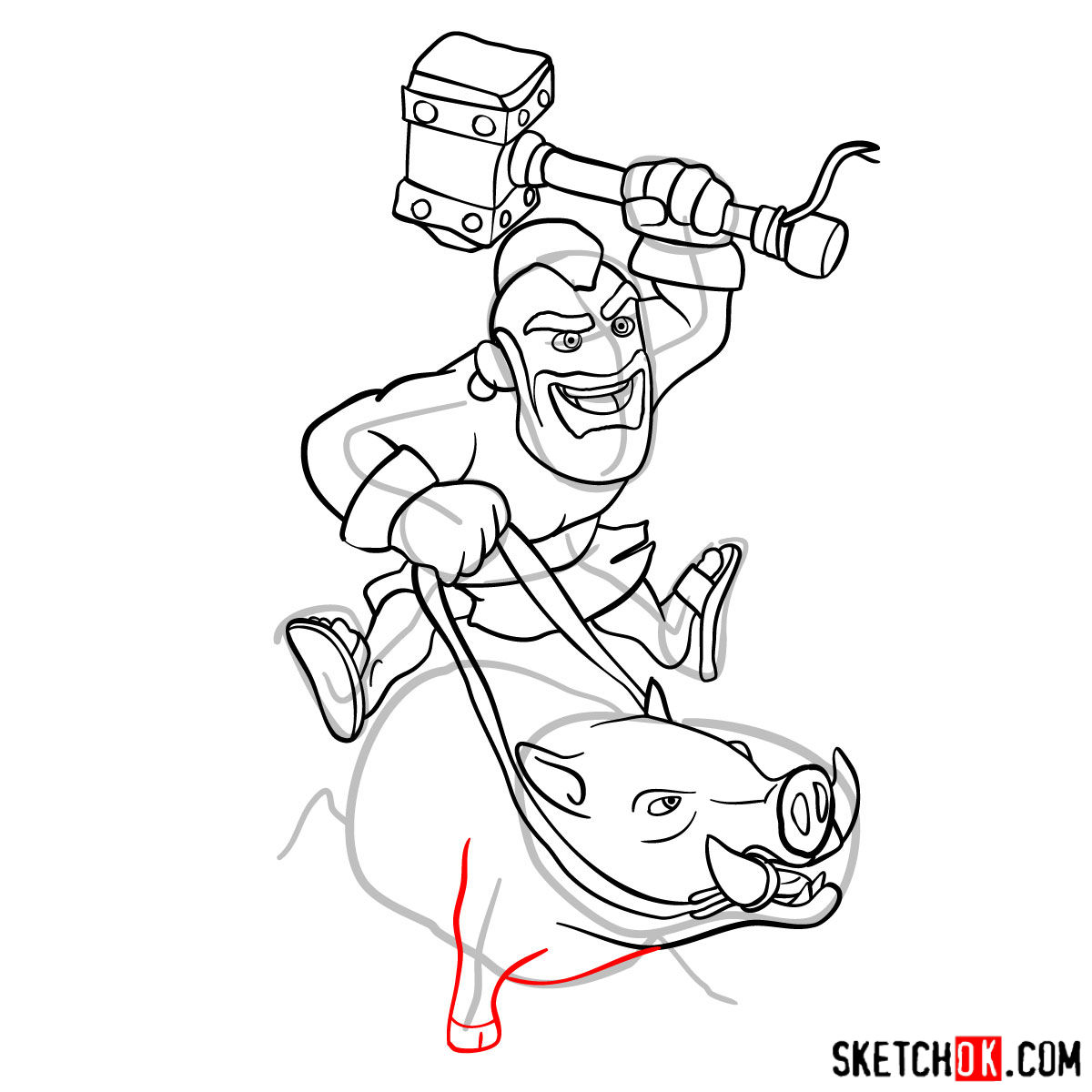 How to draw Hog Rider from Clash of Clans - step 12