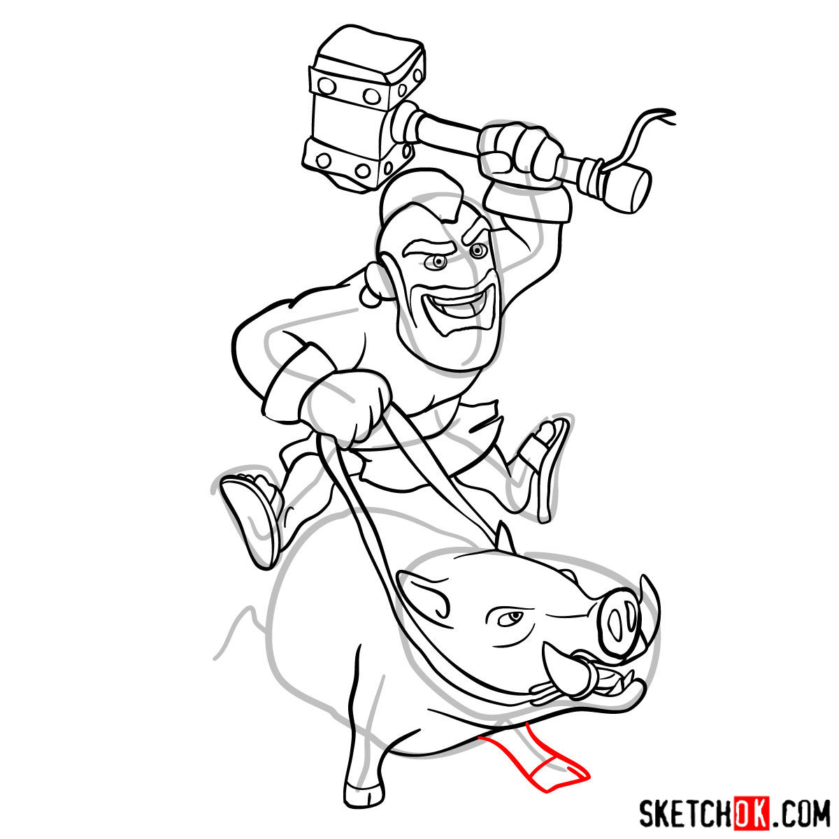 How to draw Hog Rider from Clash of Clans - step 13