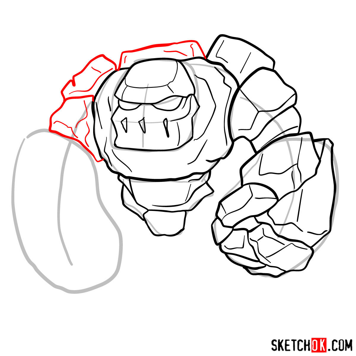 How to draw Golem (Golemite) from Clash of Clans - step 07