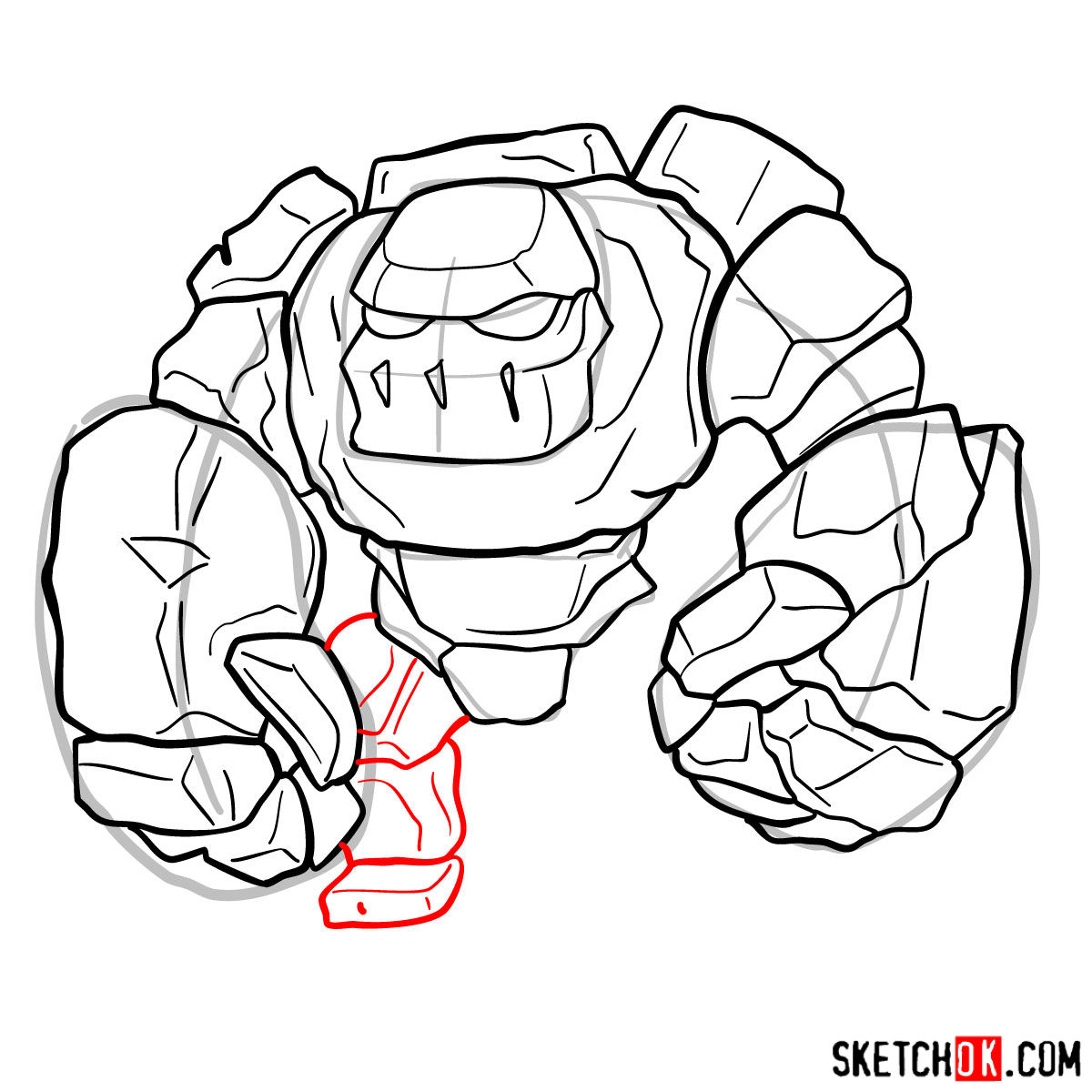 How to draw Golem (Golemite) from Clash of Clans - step 09