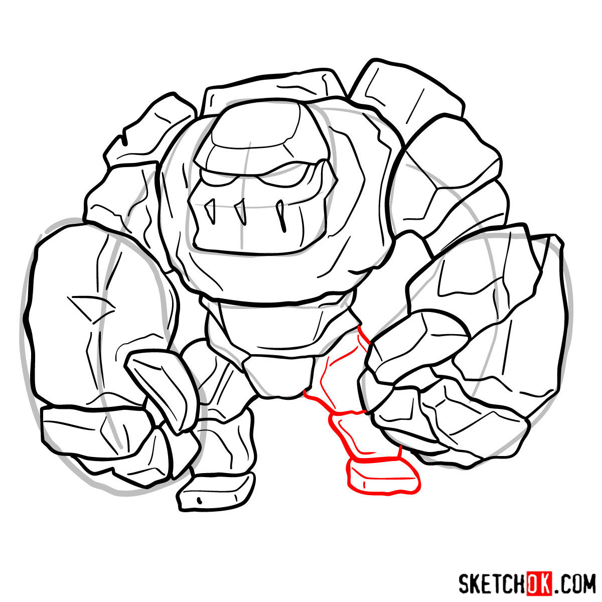 How to draw Golem (Golemite) from Clash of Clans - step 10
