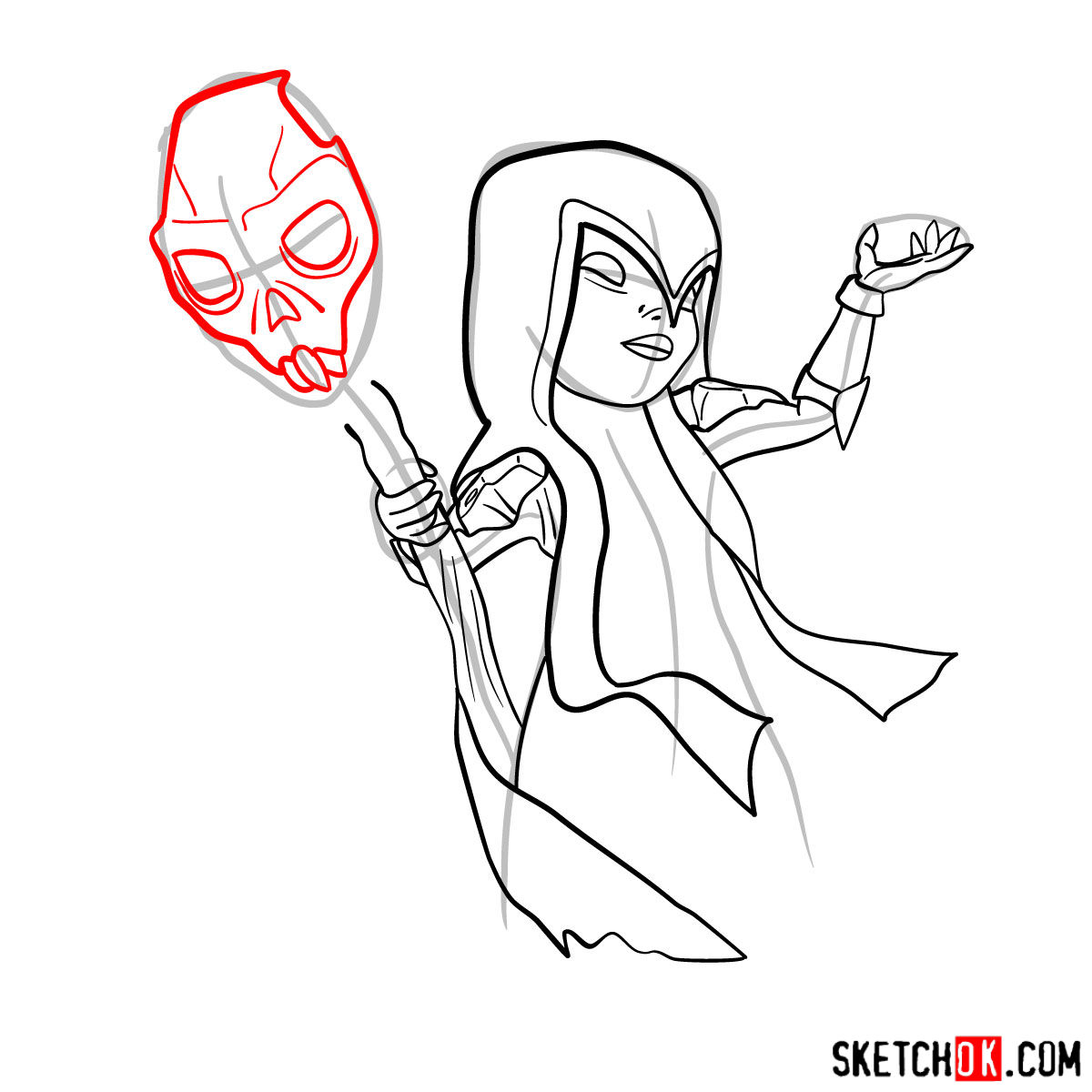 How to draw Witch (Skeleton) from Clash of Clans - step 10