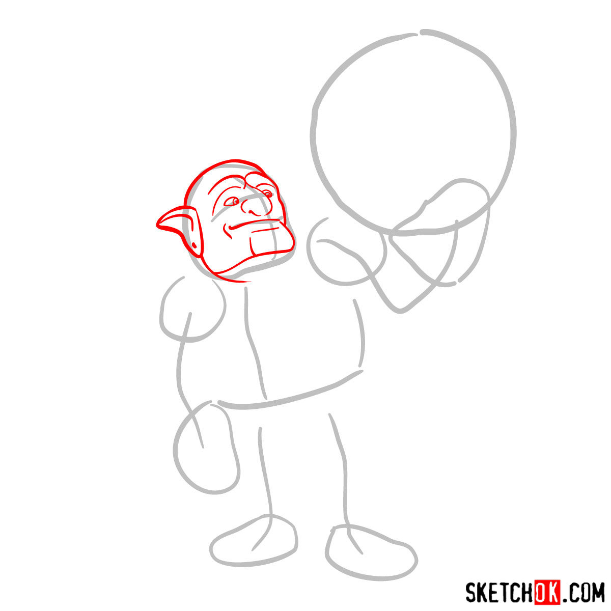 How to draw Bowler from Clash of Clans - step 02