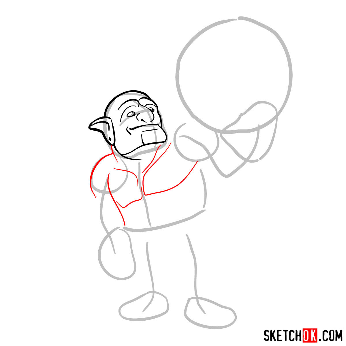How to draw Bowler from Clash of Clans - step 03