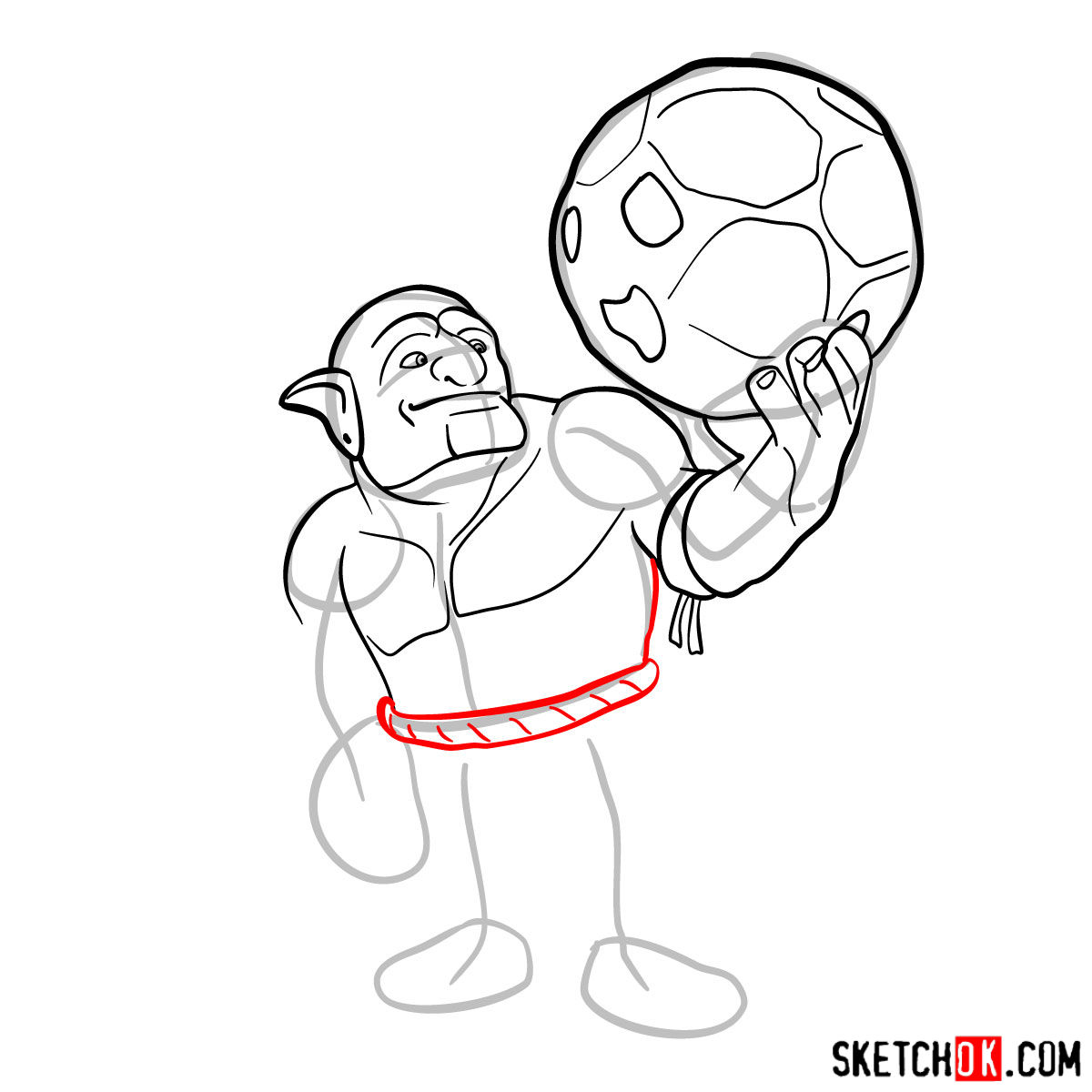 How to draw Bowler from Clash of Clans - step 06