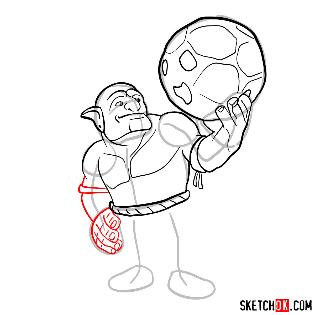 How to draw Bowler from Clash of Clans - step 07