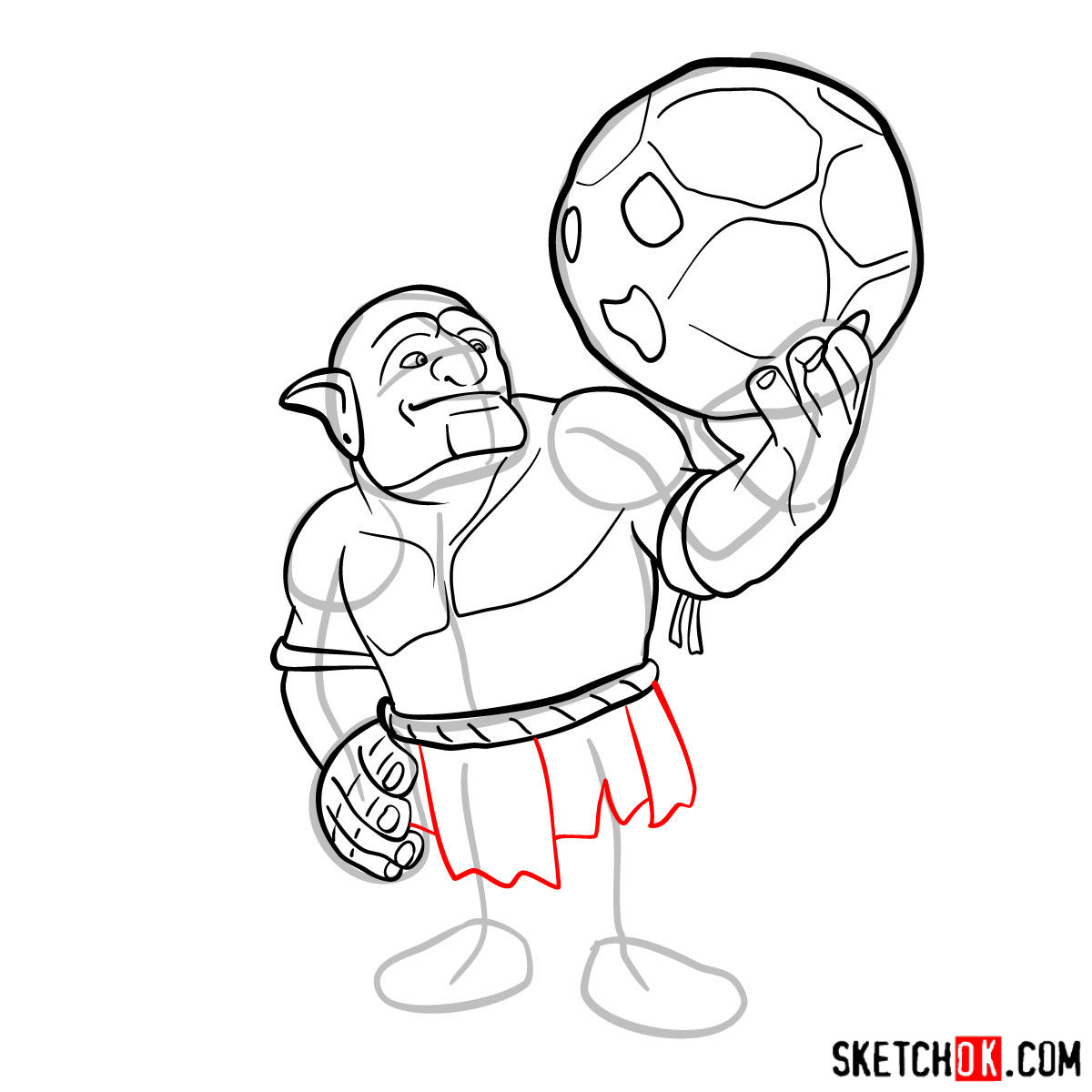 How to draw Bowler from Clash of Clans - step 08