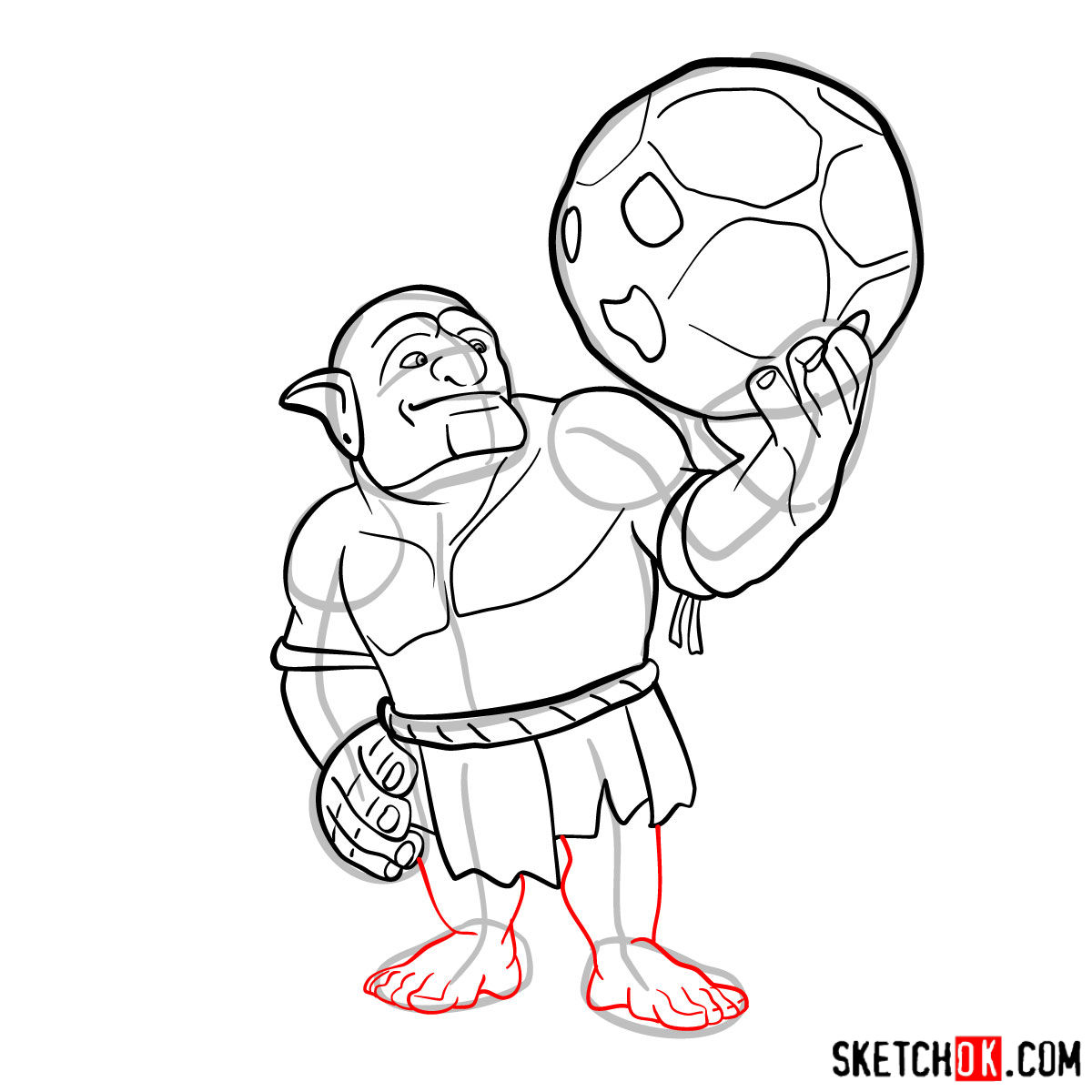 How to draw Bowler from Clash of Clans - step 09