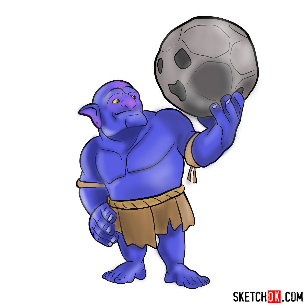 How to draw Bowler from Clash of Clans - coloring