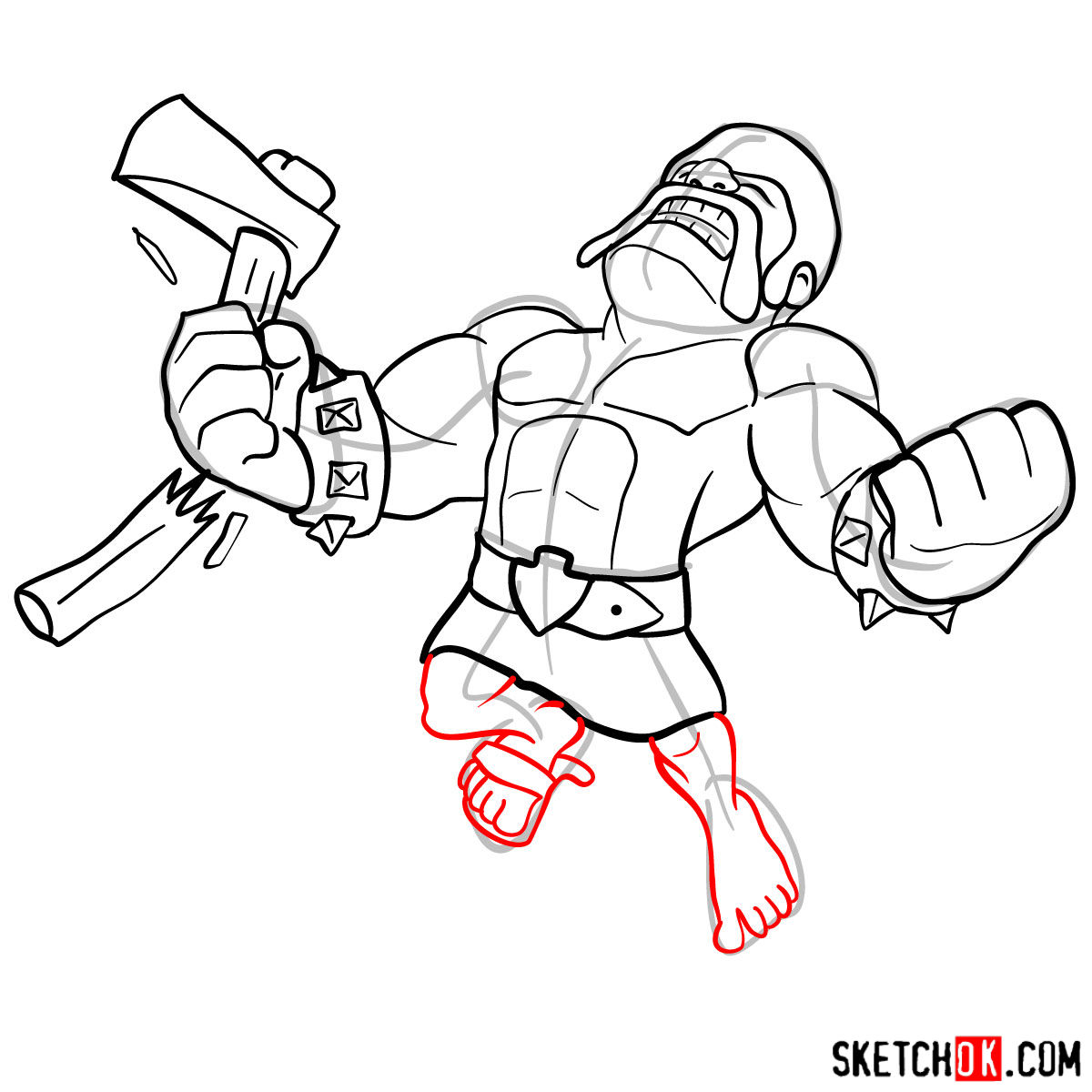 How to draw Raged Barbarian from CoC - step 12