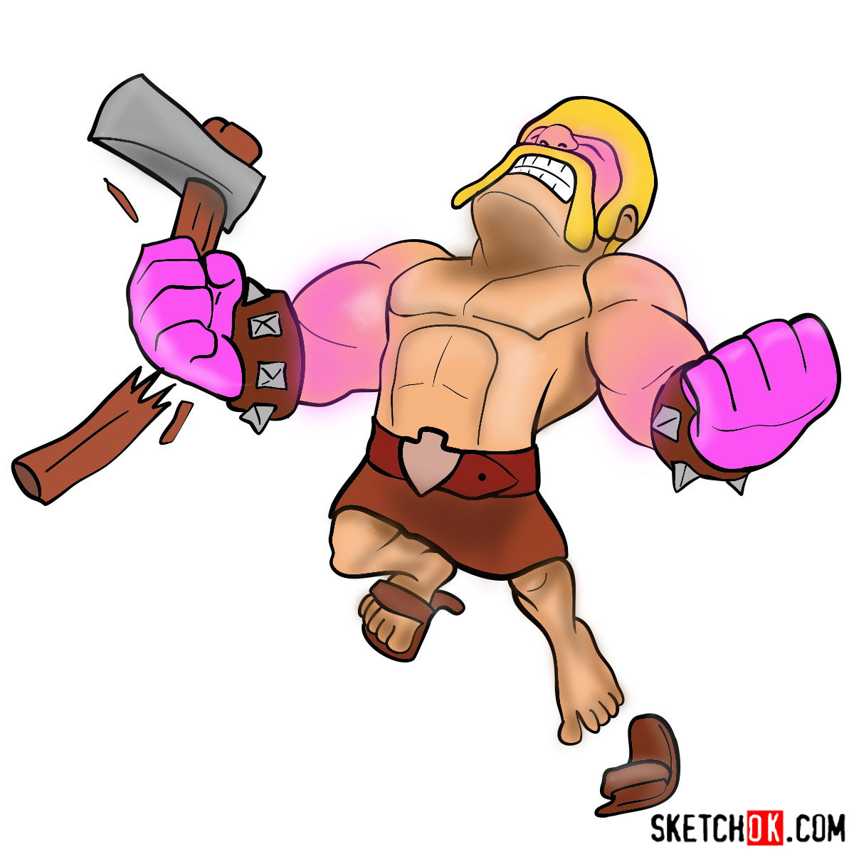 How to draw Raged Barbarian from CoC
