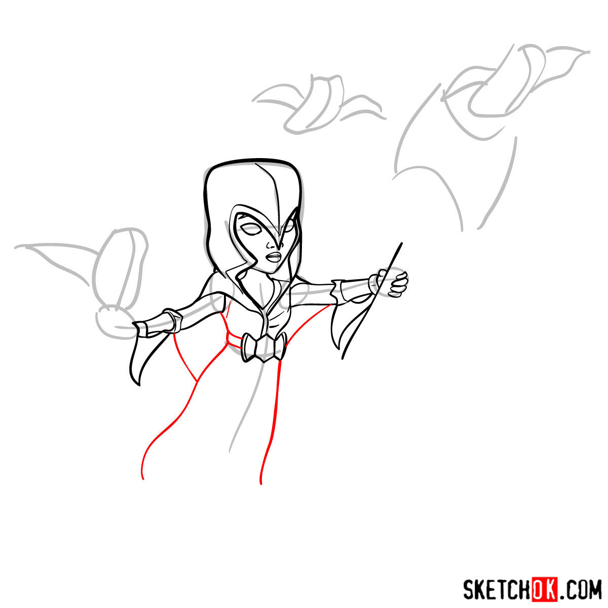 How to draw Night Witch (Bat) from Clash of Clans - step 07