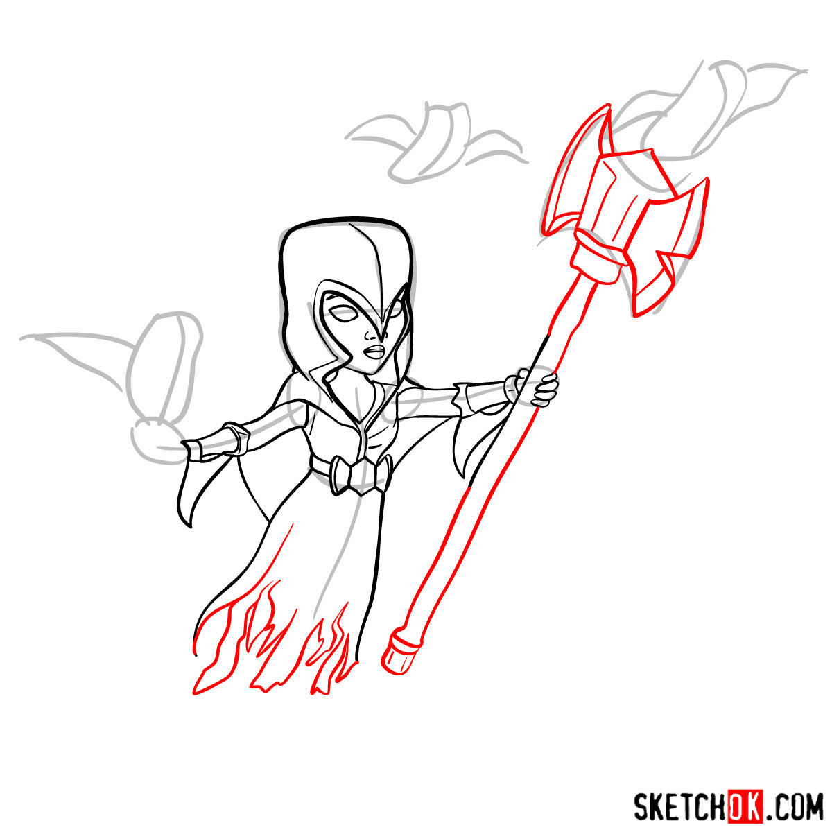 How to draw Night Witch (Bat) from Clash of Clans - step 08
