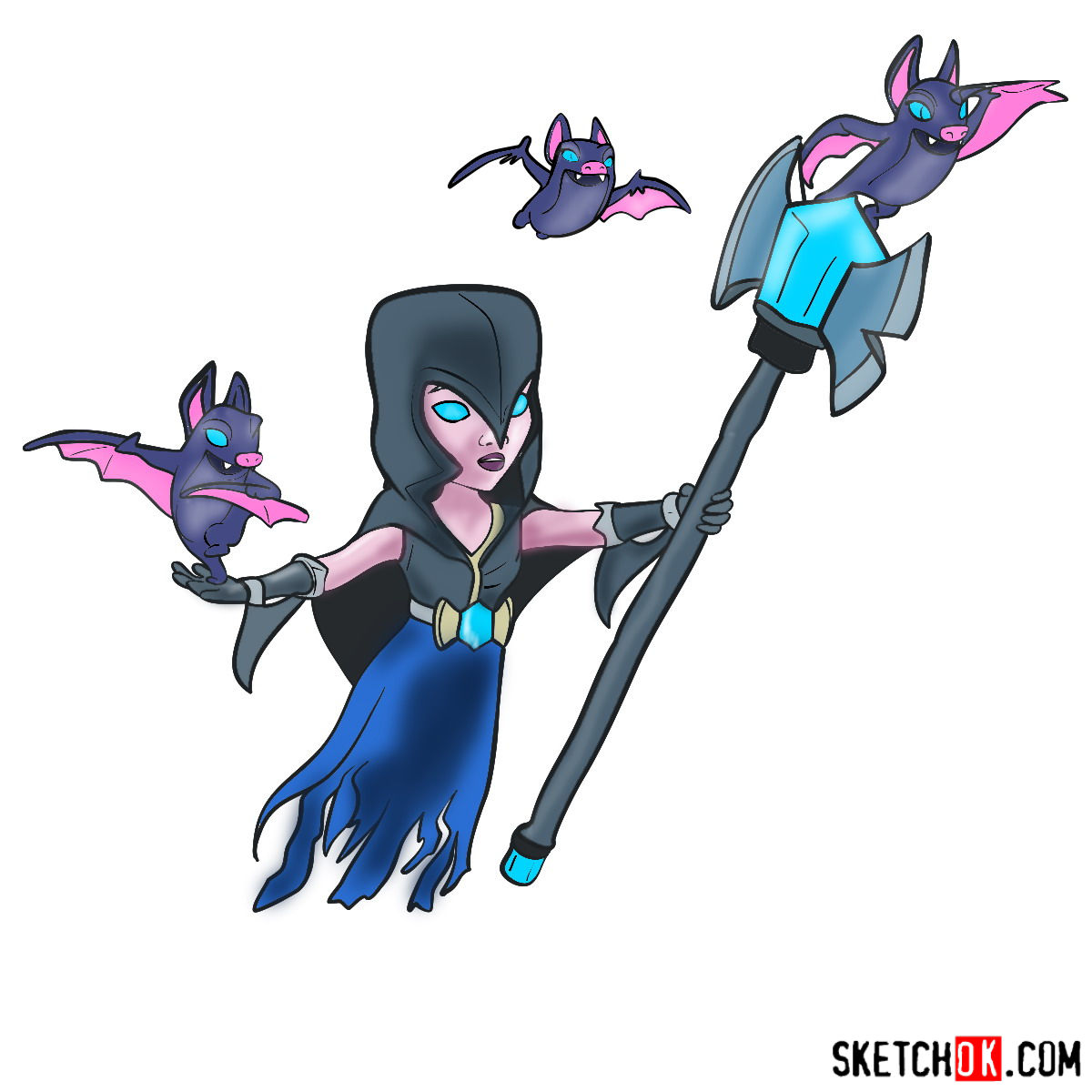 How to draw Night Witch (Bat) from Clash of Clans