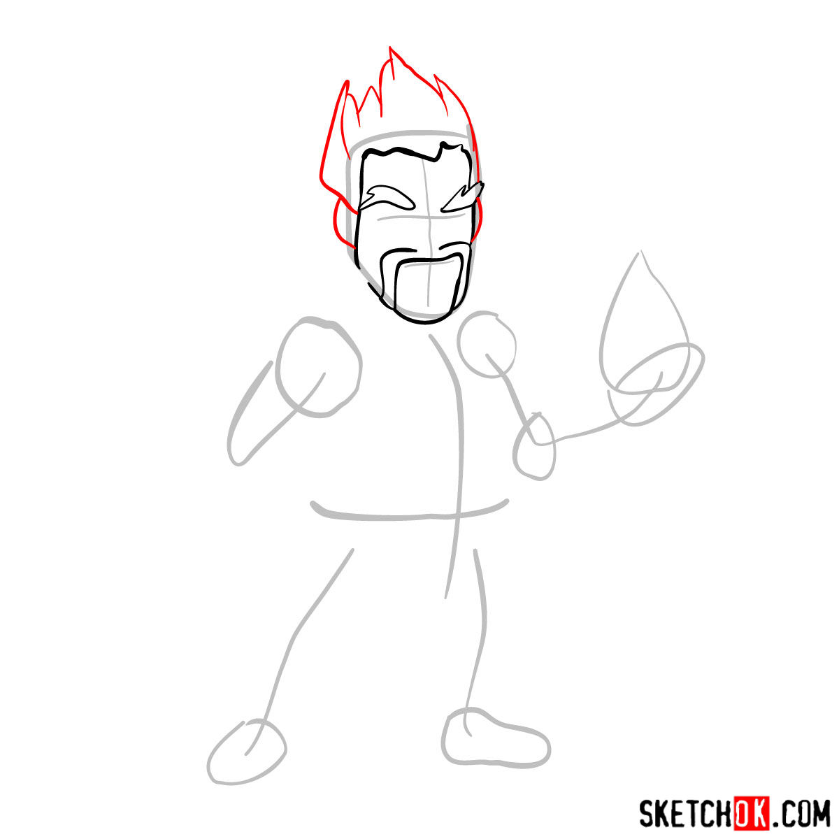 How to draw Ice Wizard from Clash of Clans - step 03