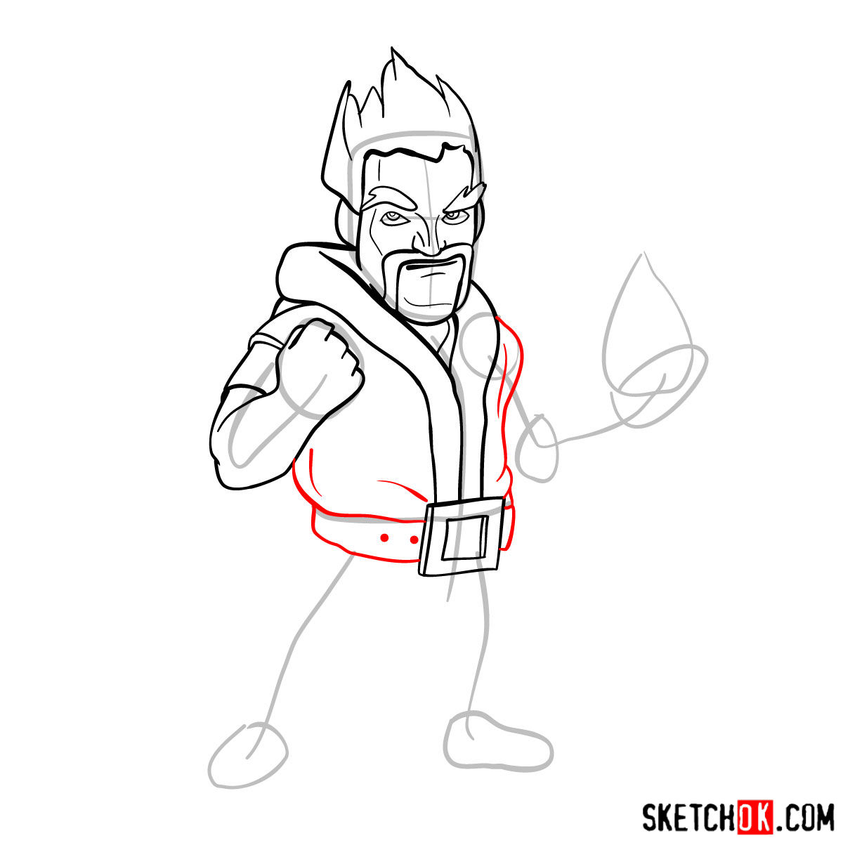How to draw Ice Wizard from Clash of Clans - step 08