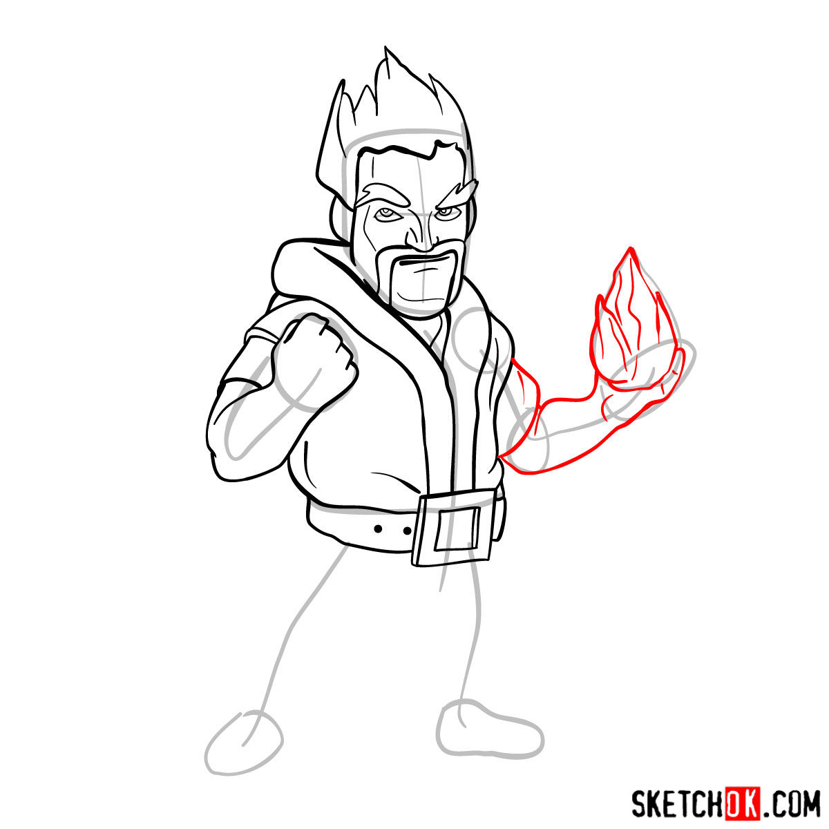 How to draw Ice Wizard from Clash of Clans - step 09