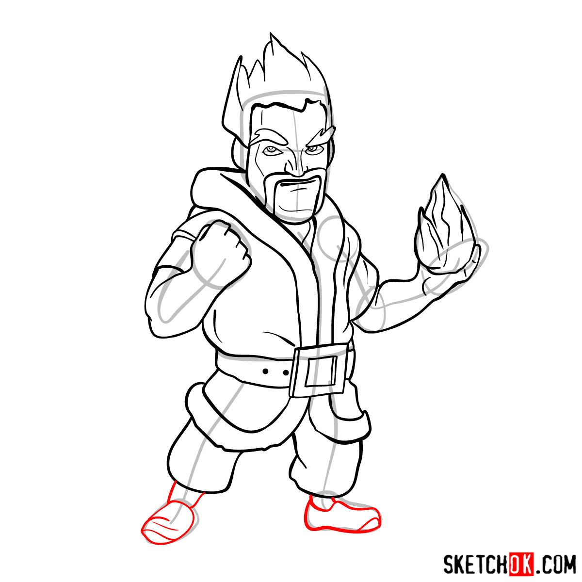 How to draw Ice Wizard from Clash of Clans - step 12