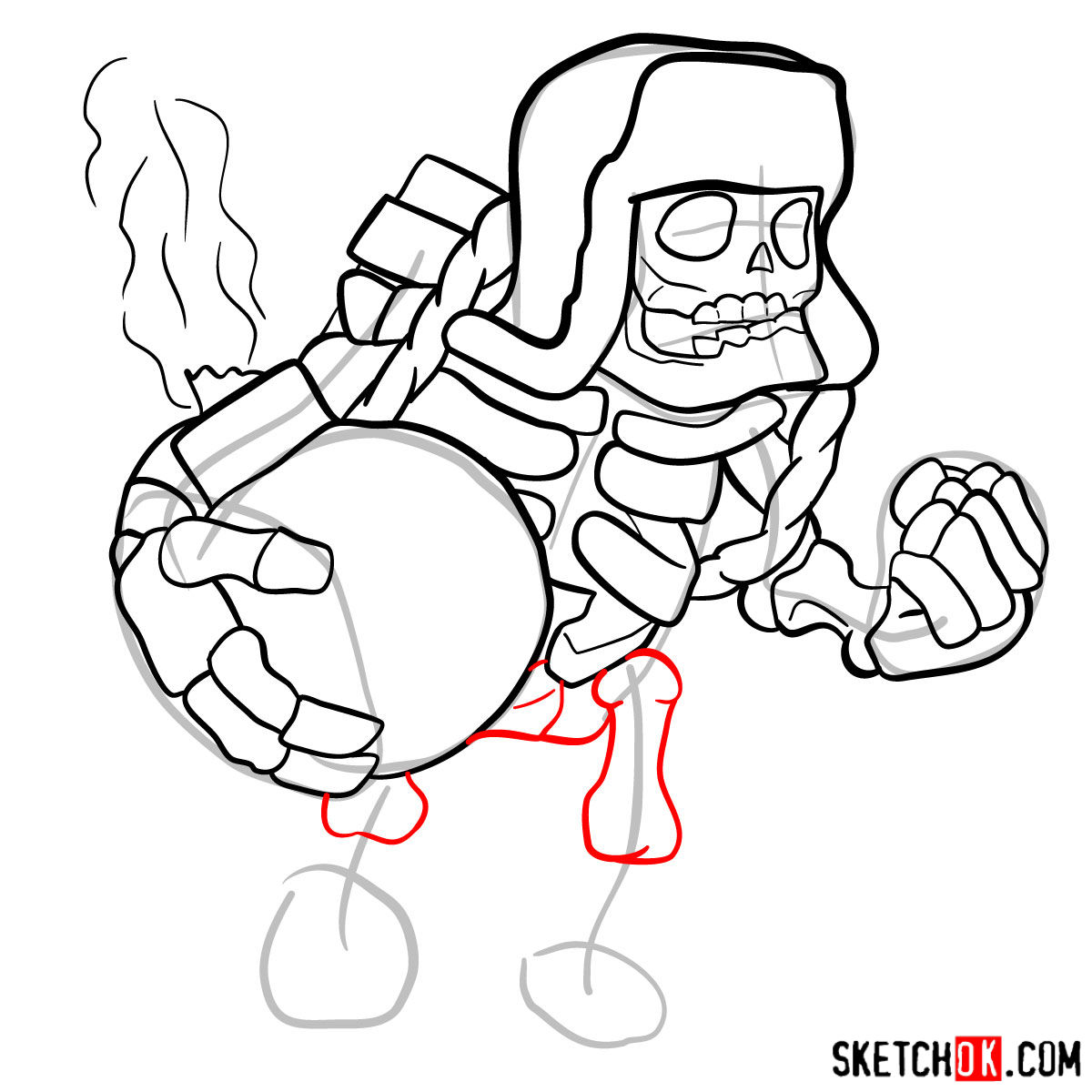 How to draw Giant Skeleton from Clash of Clans - step 10