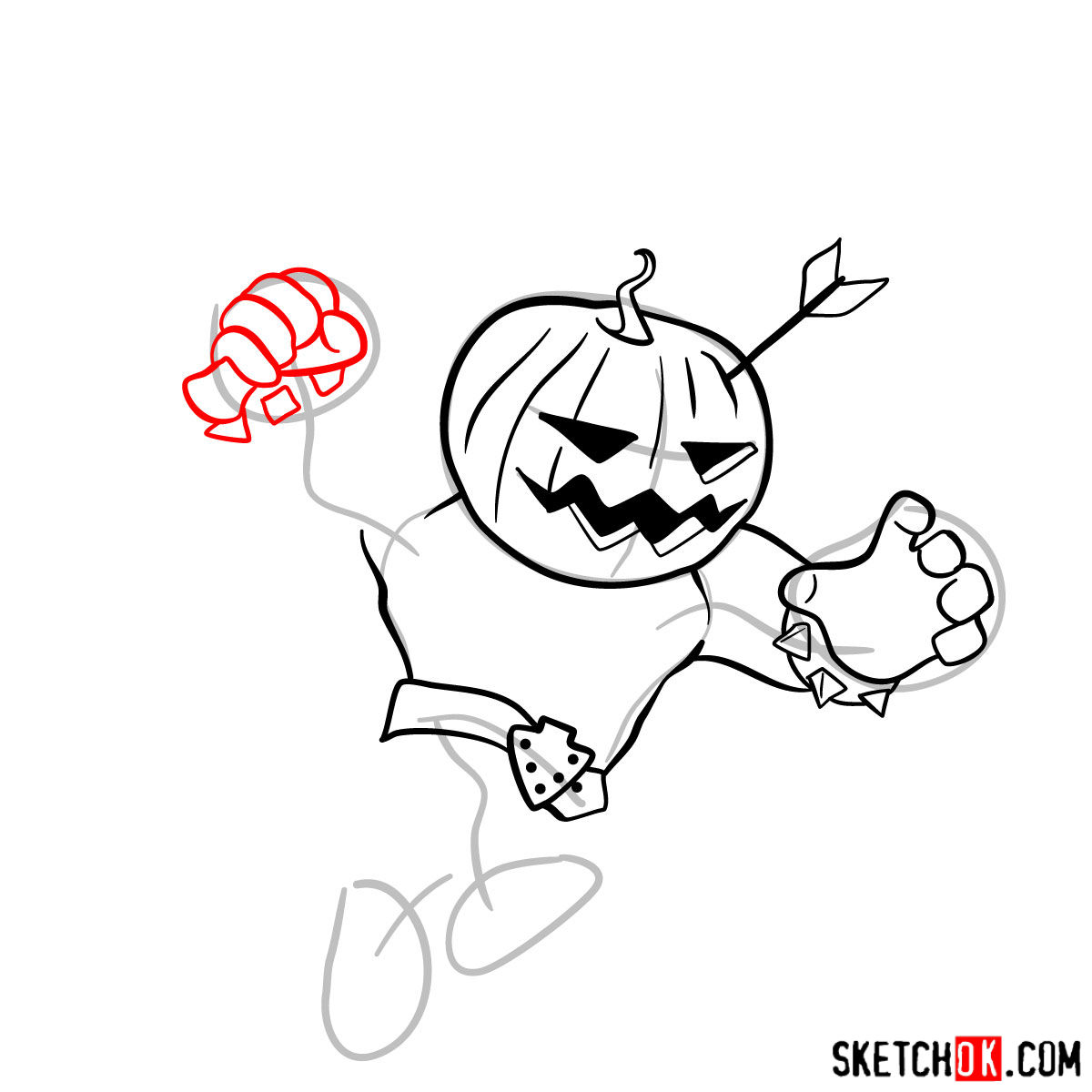 How to draw Pumpkin Barbarian - step 07