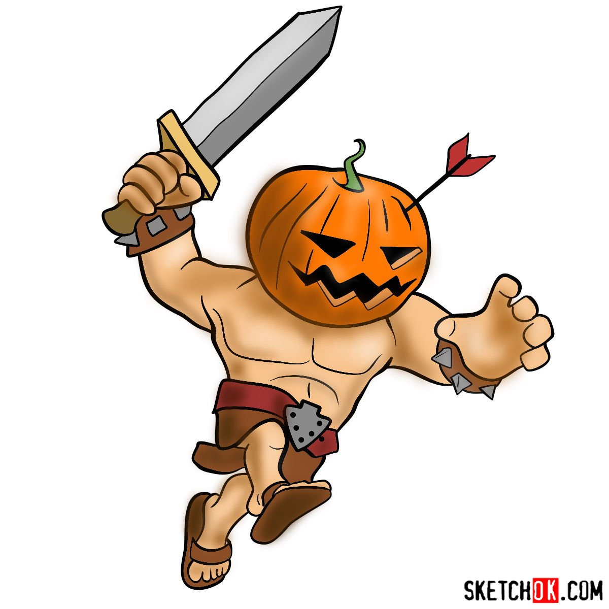 How to draw Pumpkin Barbarian