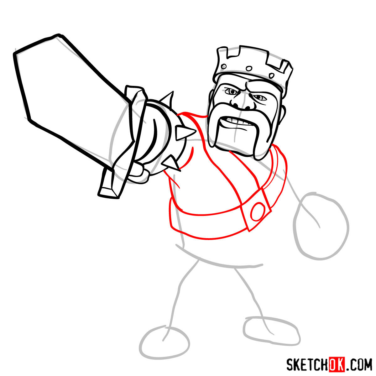 How to draw Barbarian King from CoC - step 07