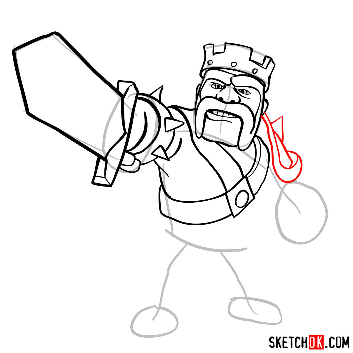 How to draw Barbarian King from CoC - step 08