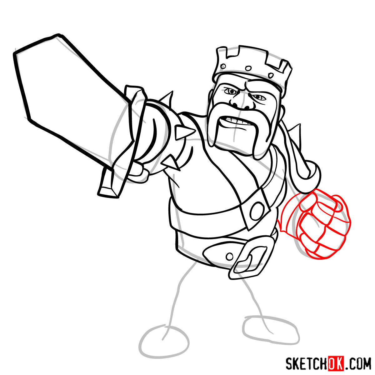 How to draw Barbarian King from CoC - step 10