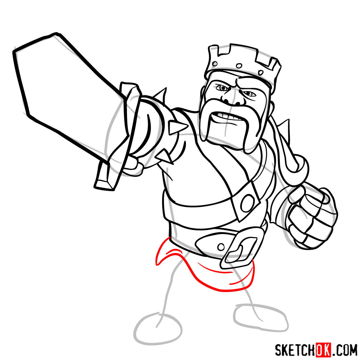 How to draw Barbarian King from CoC - step 11