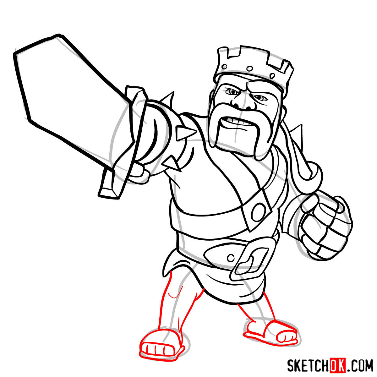 How to draw Barbarian King from CoC - step 12