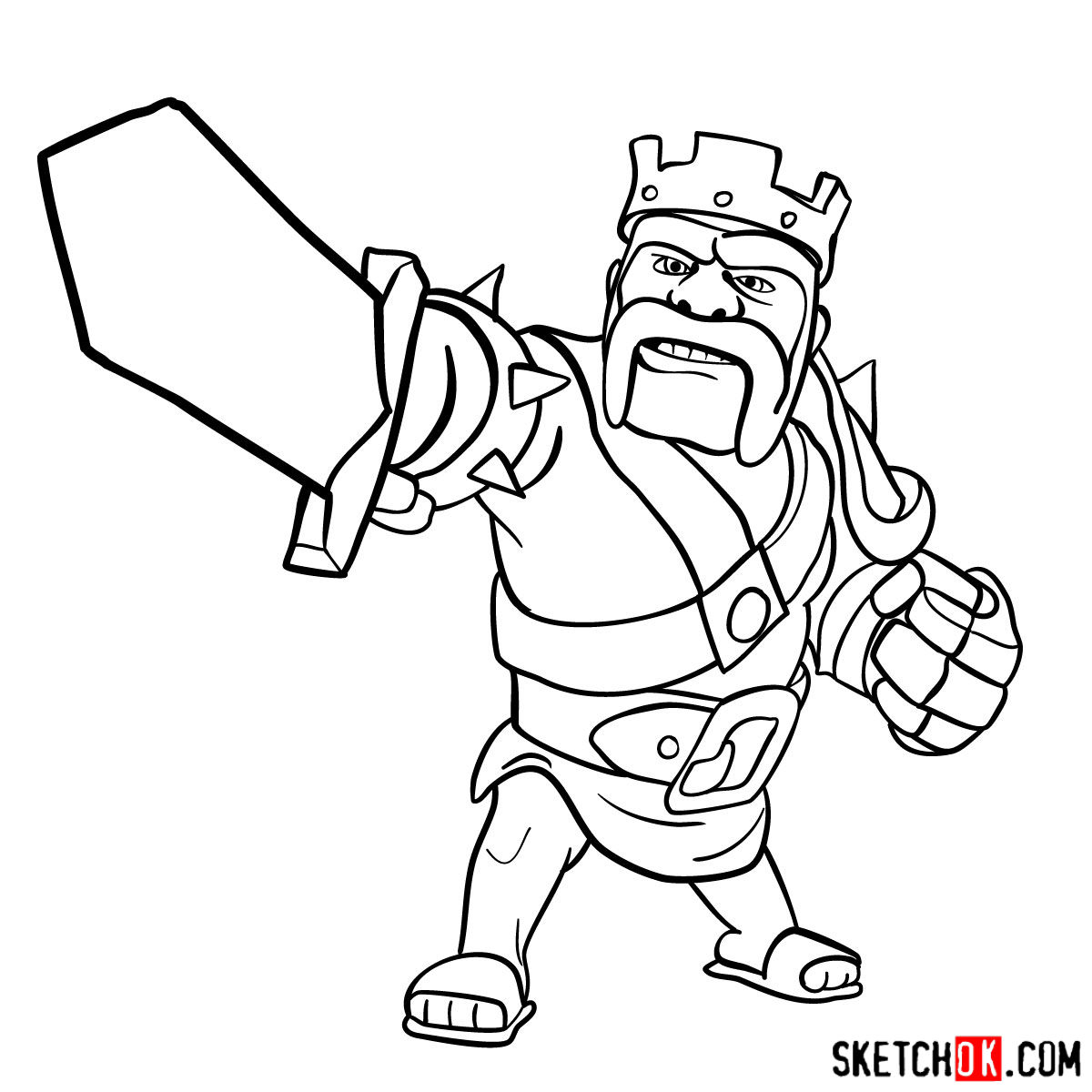 How to draw Barbarian King from CoC - step 13