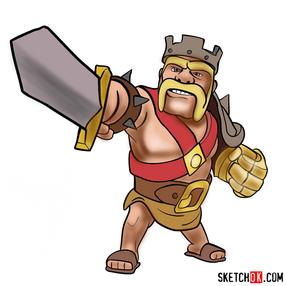 How to draw Barbarian King from CoC