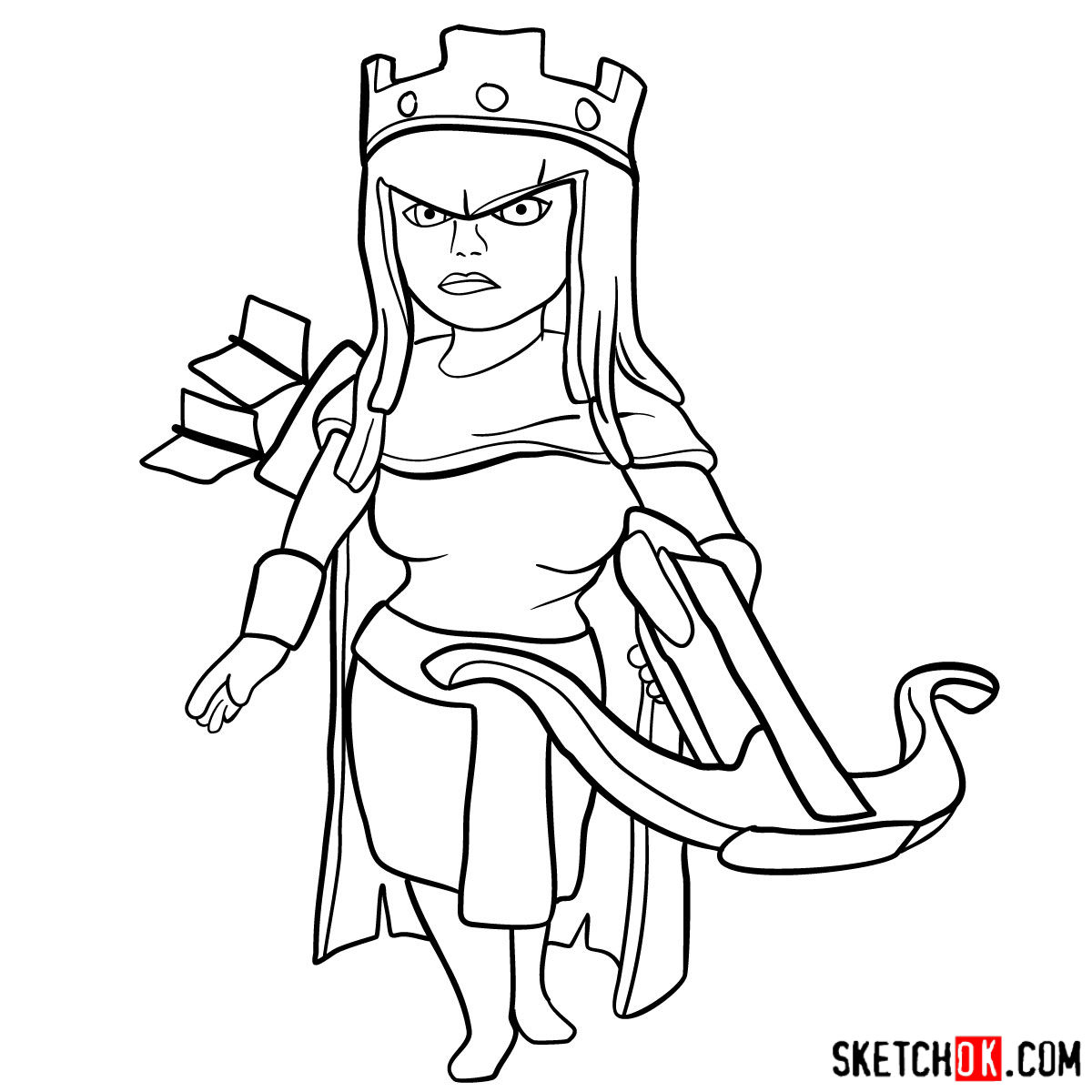 How To Draw Archer Queen From Clash Of Clans