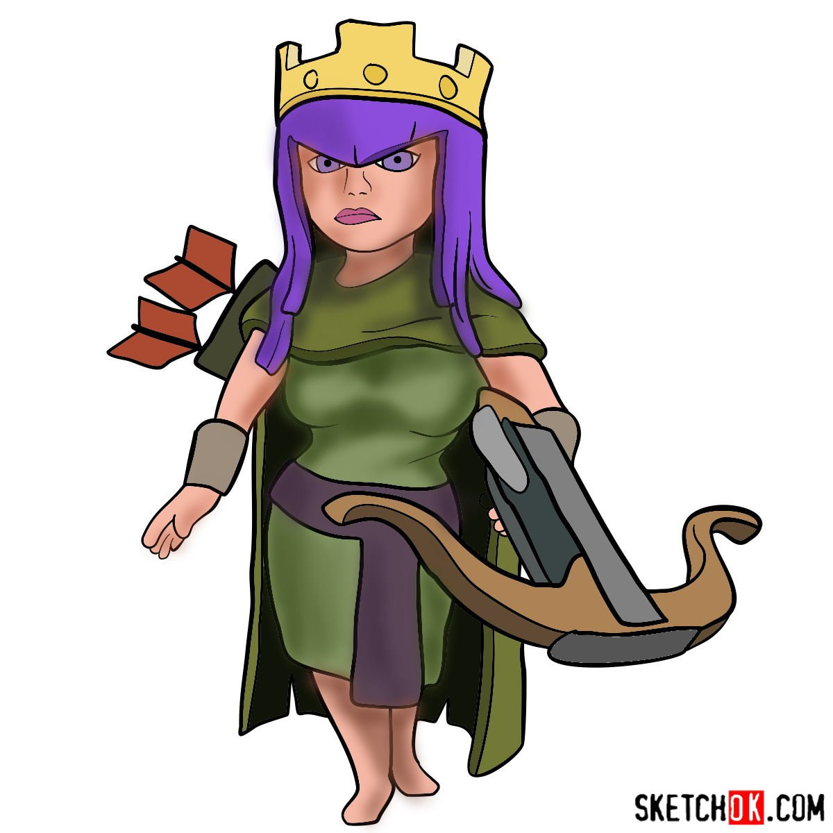 How to draw Archer Queen from Clash of Clans game