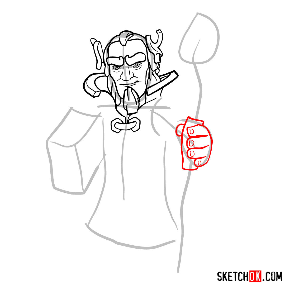 How to draw Grand Warden from Clash of Clans - step 06