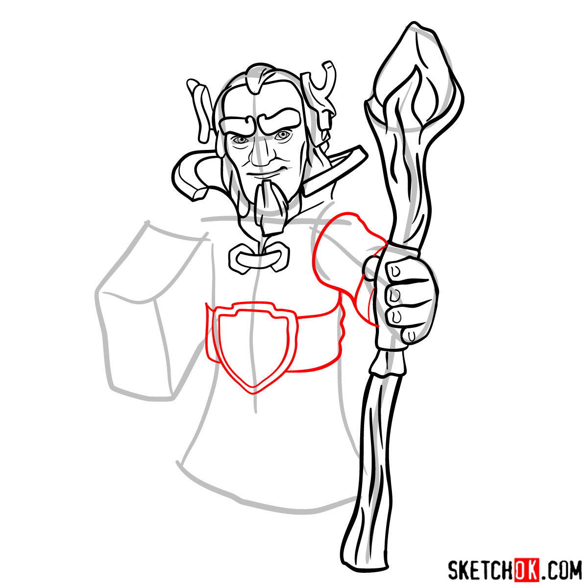 How to draw Grand Warden from Clash of Clans - step 08