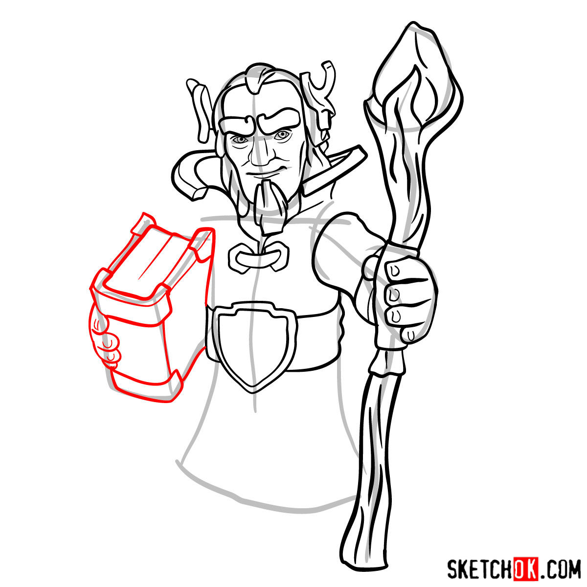 How to draw Grand Warden from Clash of Clans - step 09
