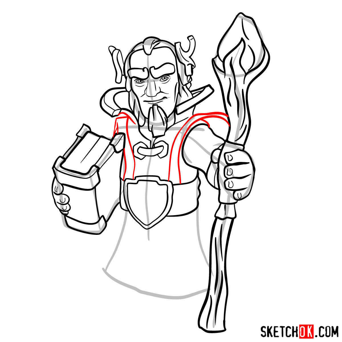 How to draw Grand Warden from Clash of Clans - step 10