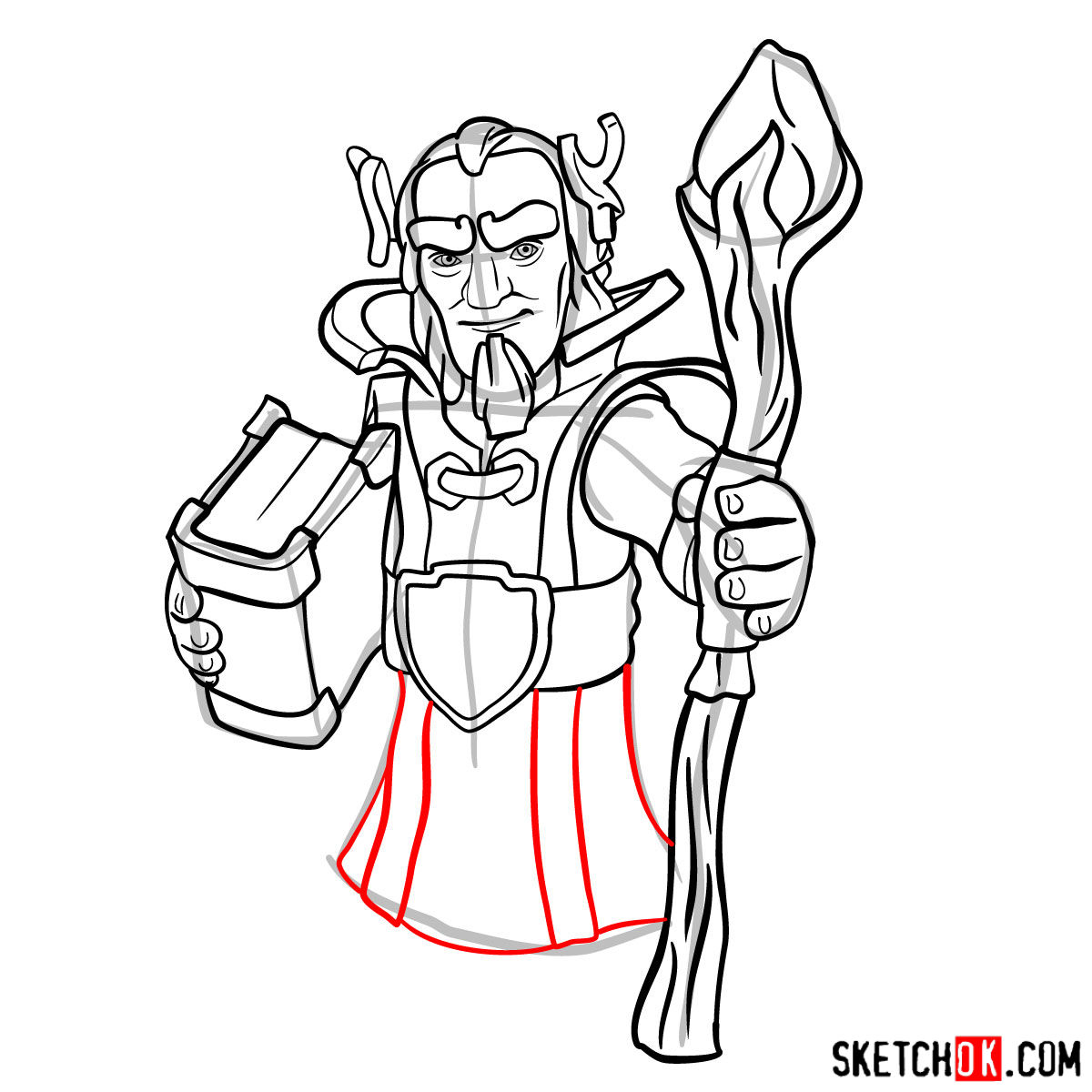 How to draw Grand Warden from Clash of Clans - step 11