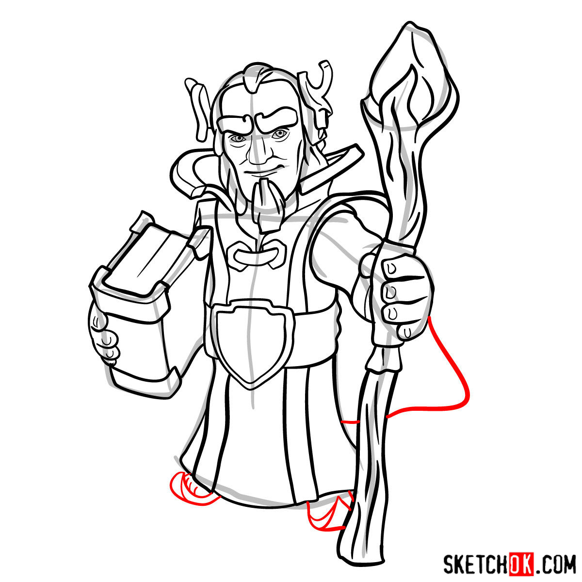 How to draw Grand Warden from Clash of Clans - step 12