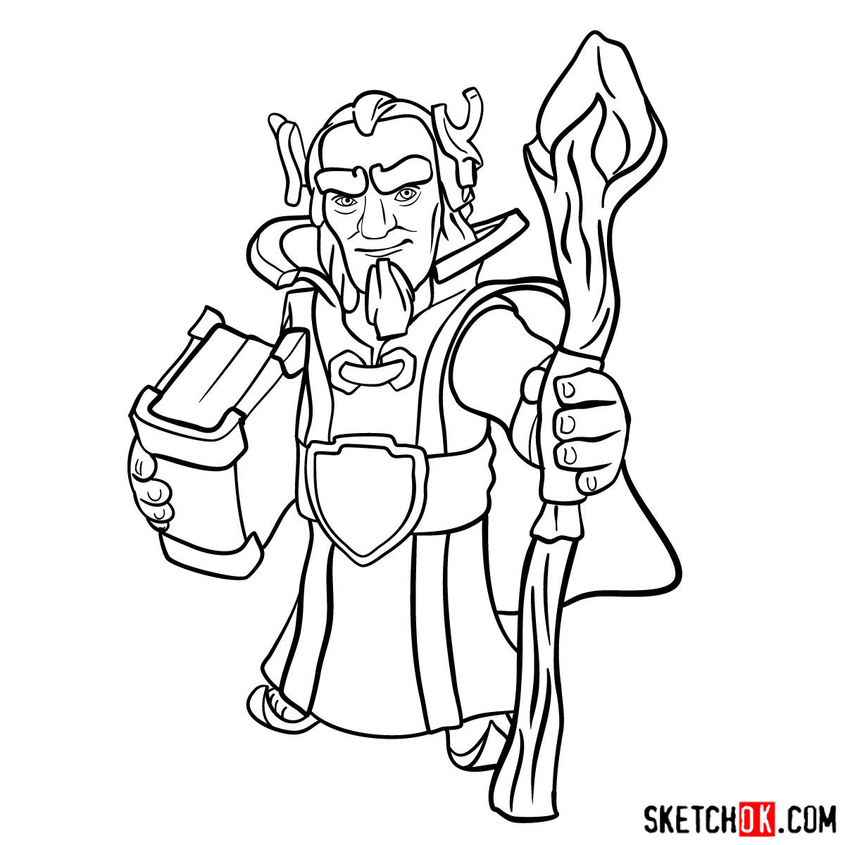 How to draw Grand Warden from Clash of Clans - step 13