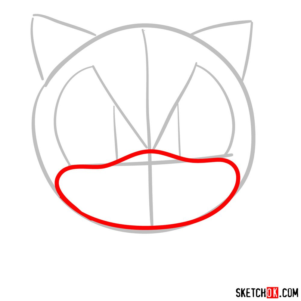 How to draw Sonic's head (front view) - step 03