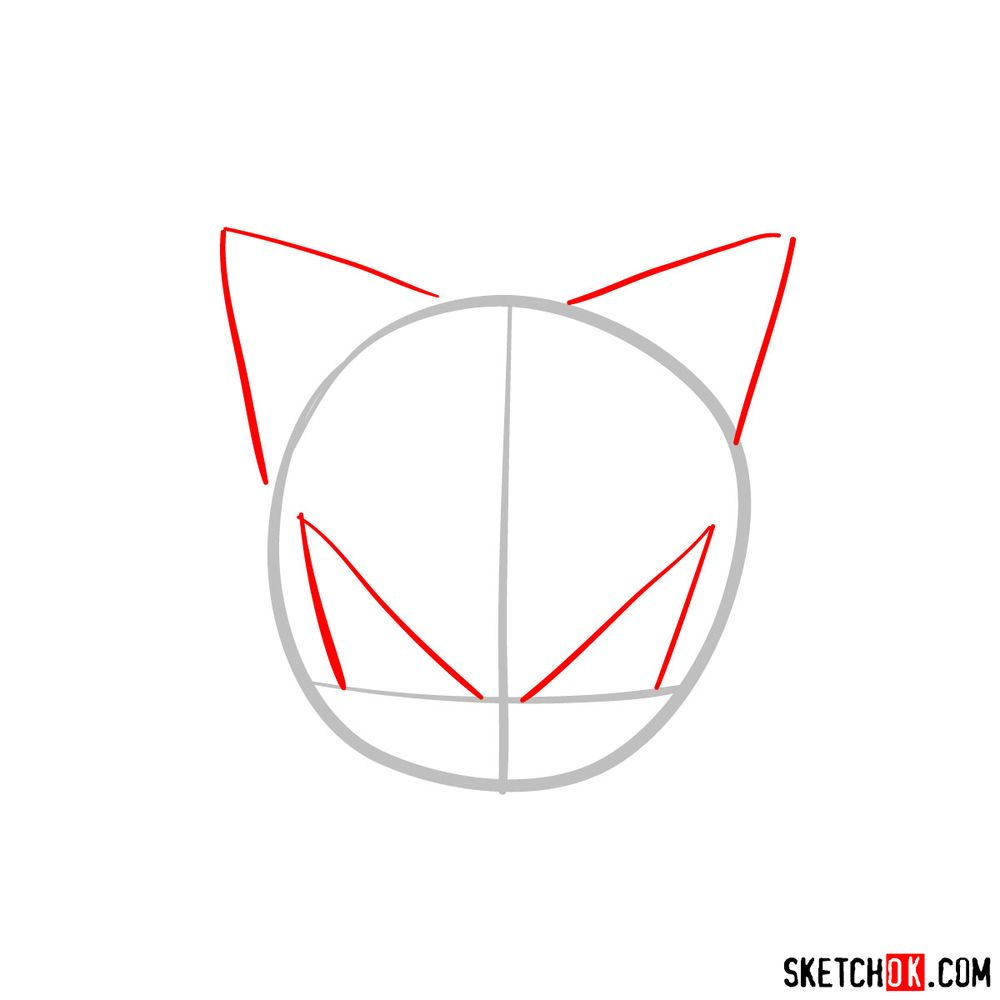 How to draw Shadow the Hedgehog's face - step 02