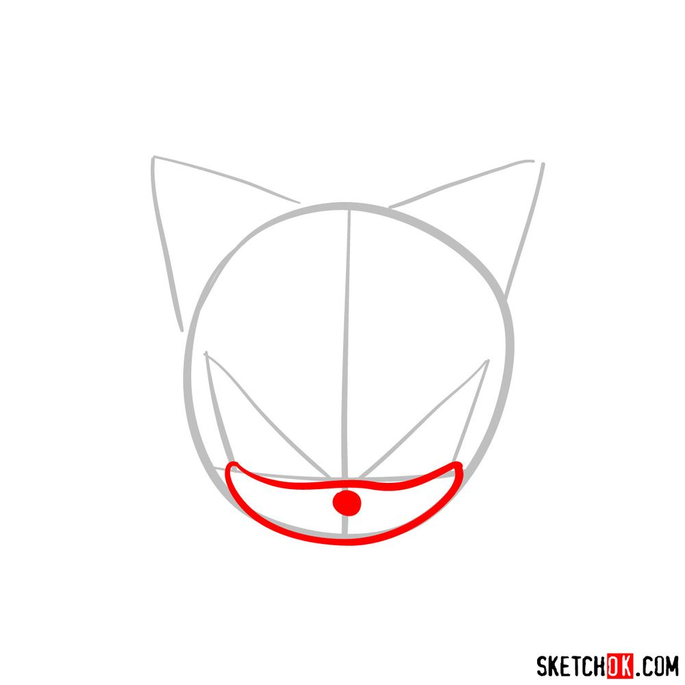 How to draw Shadow the Hedgehog's face - step 03