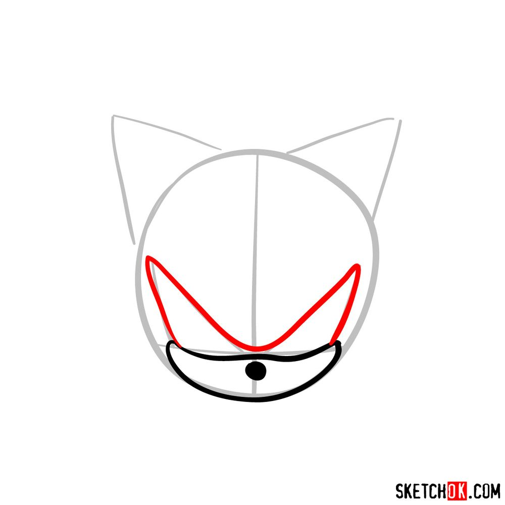 How to draw Shadow the Hedgehog's face - step 04