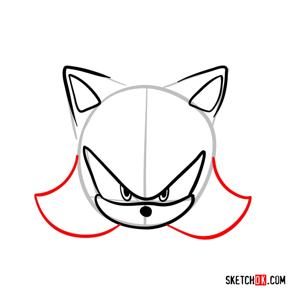 How to draw Shadow the Hedgehog's face - step 06