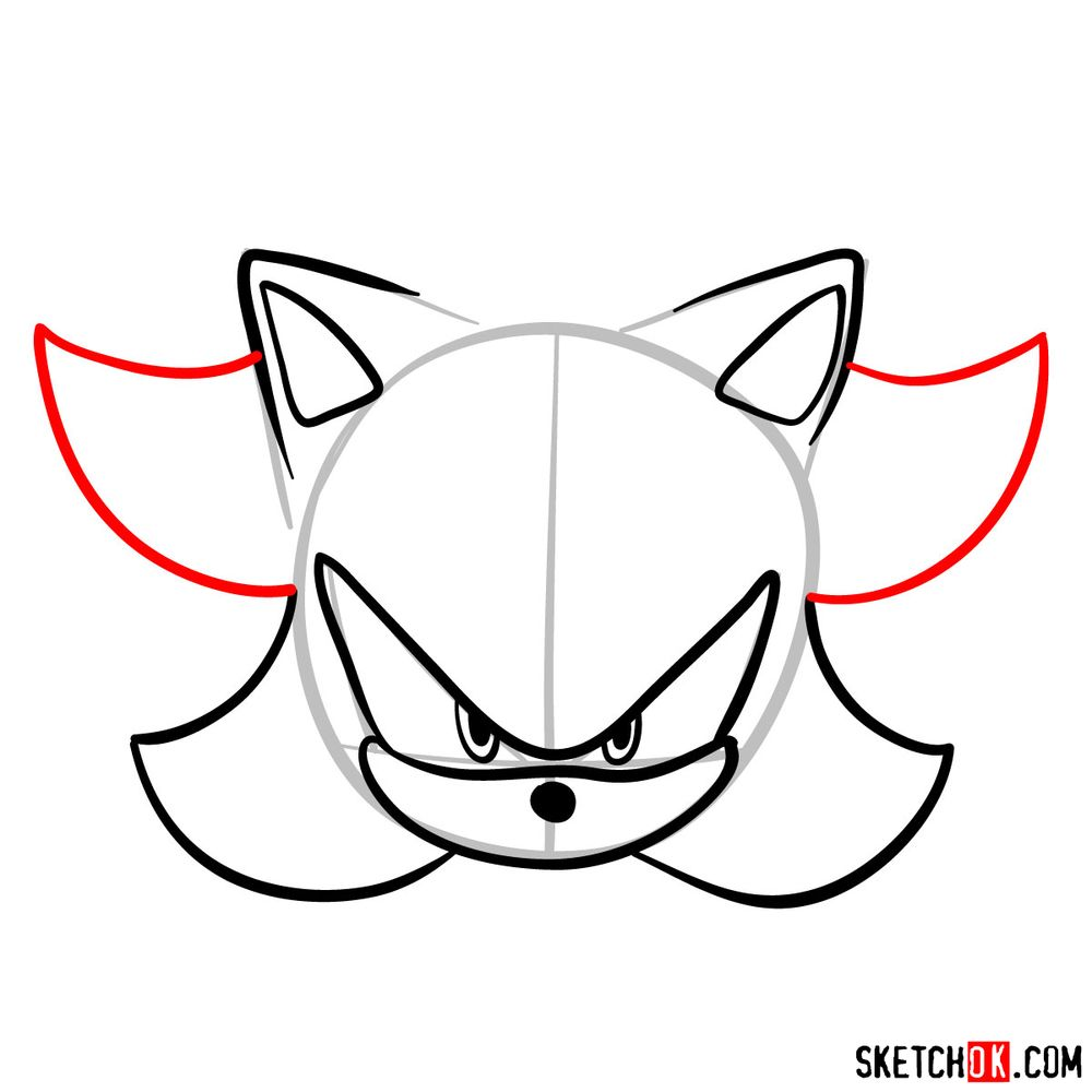 How to draw Shadow the Hedgehog's face - step 07
