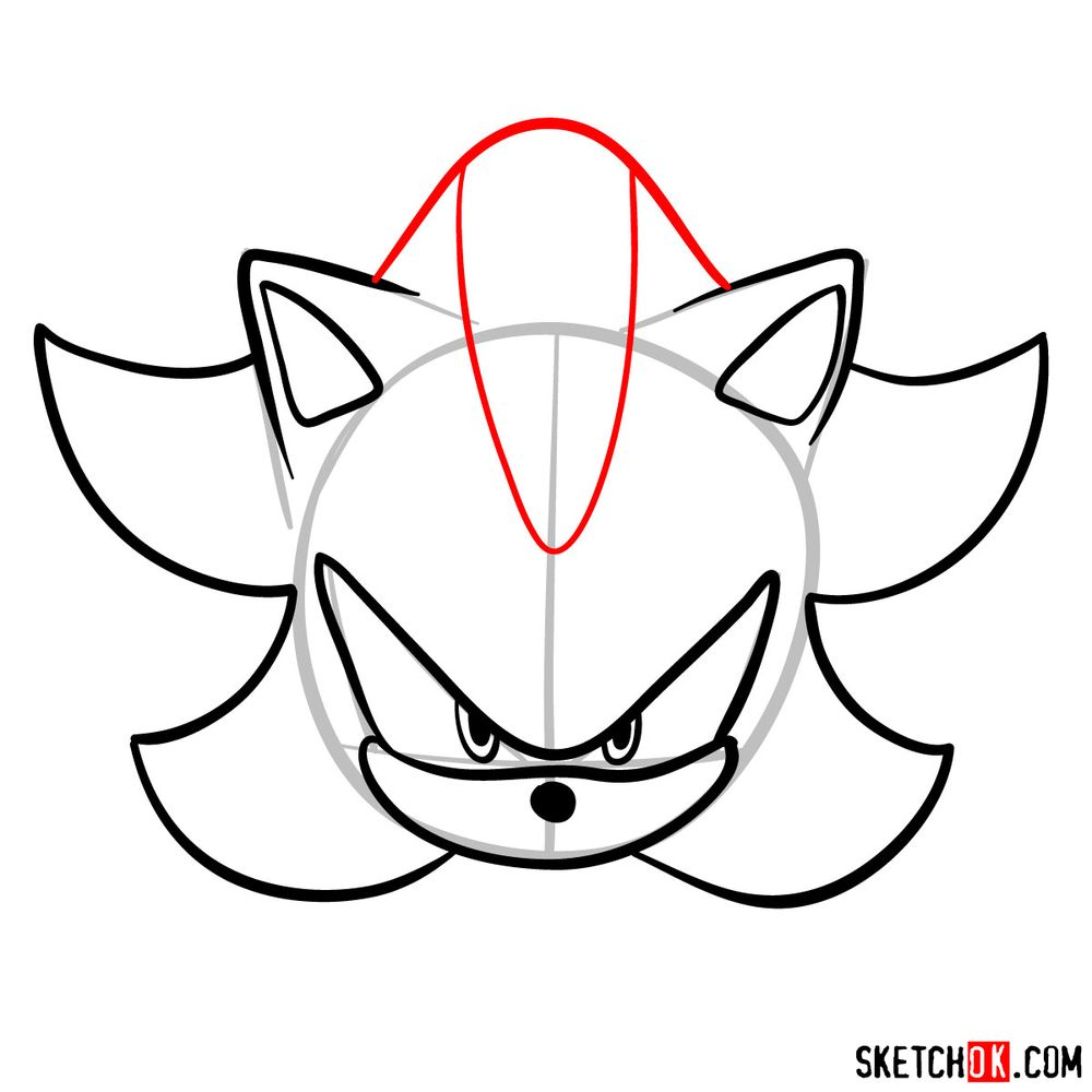 How to draw Shadow the Hedgehog's face - step 08